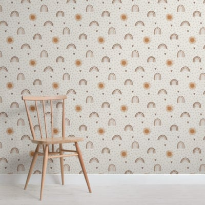 earthy hand-painted rainbow kids repeat pattern wallpaper