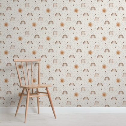 Earthy Hand-Painted Rainbow Kids Repeat Pattern Wallpaper Image