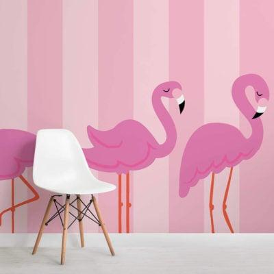 flamingo dance-kids-square-wall mural-kj