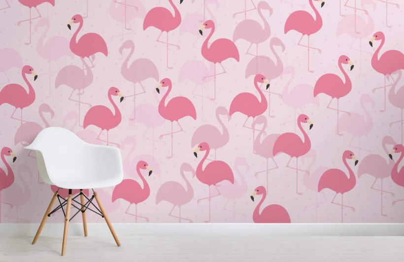 flamingo fancy-kids-room-wall mural-kj