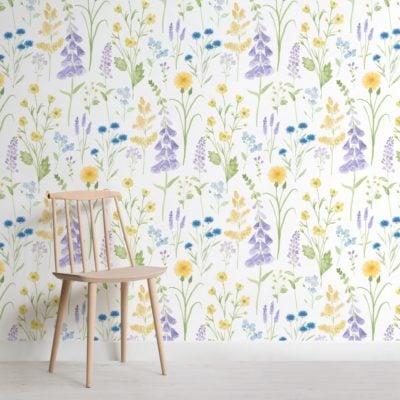 foxglove and forget me not flower garden wallpaper mural