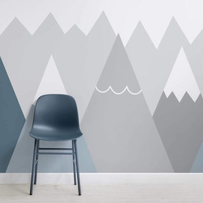 image of kids blue gray mountains wallpaper wall mural with chair and flooring
