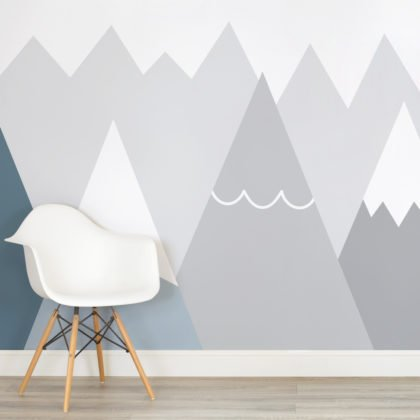 Kids Blue & Grey Mountains Wallpaper Mural Image