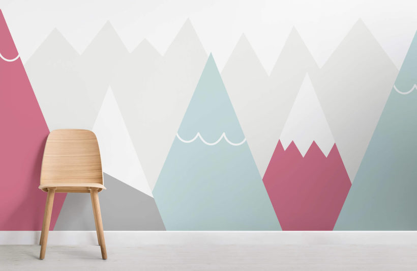 kids-pink-and-blue-mountains-nursery-room-wall-mural