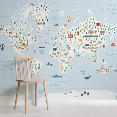 graph paper blue map - maps - square - wall mural