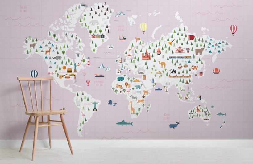 Graph paper pInk map - maps - room - wall mural