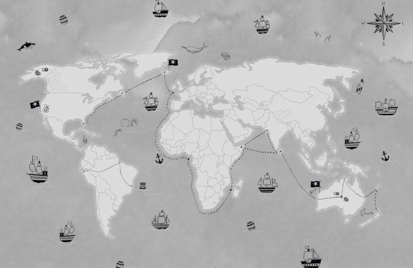 gray kids pirate treasure map wallpaper mural