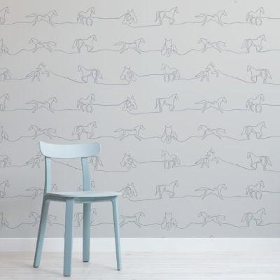 gray line drawing horse pattern wallpaper mural