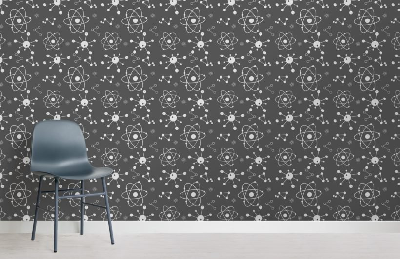 gray scientific illustration atoms wallpaper mural