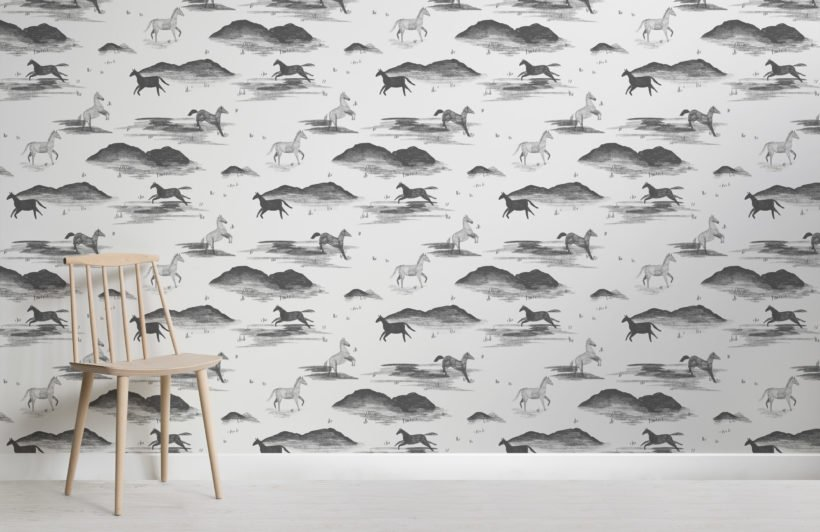 gray wild horse sketch pattern wallpaper mural