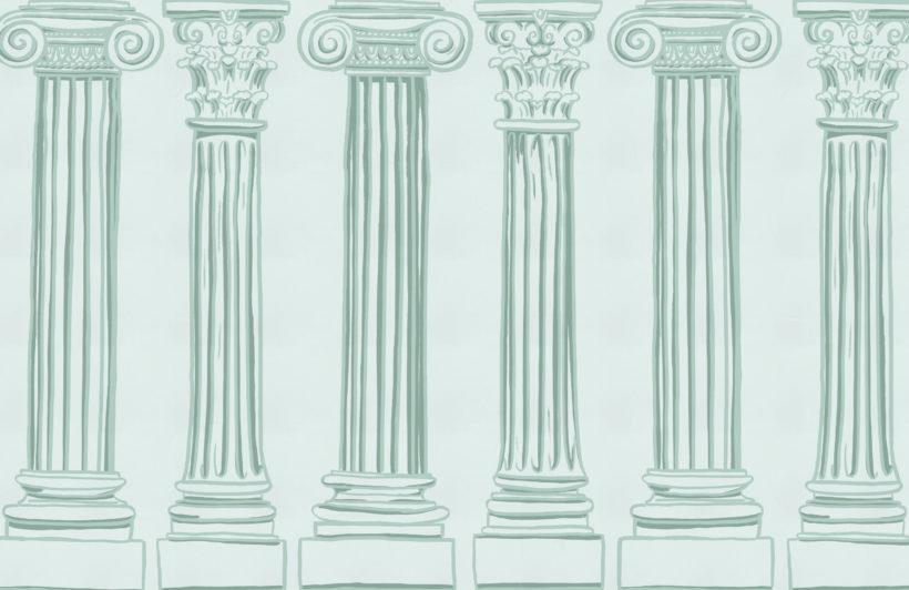 green ancient greek columns wallpaper mural-Square