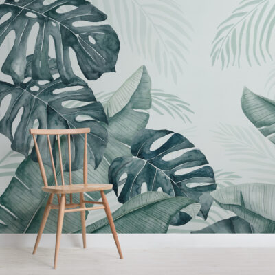 green-and-blue-watercolour-tropical-leaves-wallpaper-mural