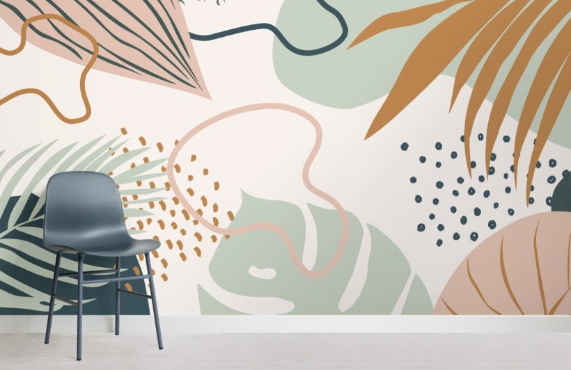 green and pink abstract tropical leaf collage wallpaper mural