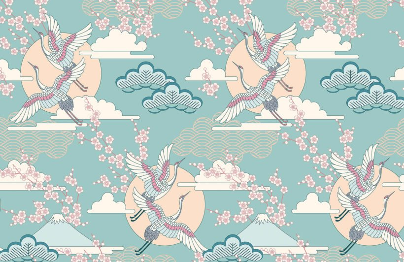 green-and-pink-oriental-sky-collection-plain-wall-mural
