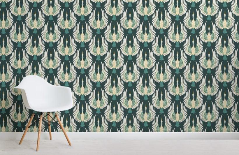 green art deco crane pattern wallpaper mural