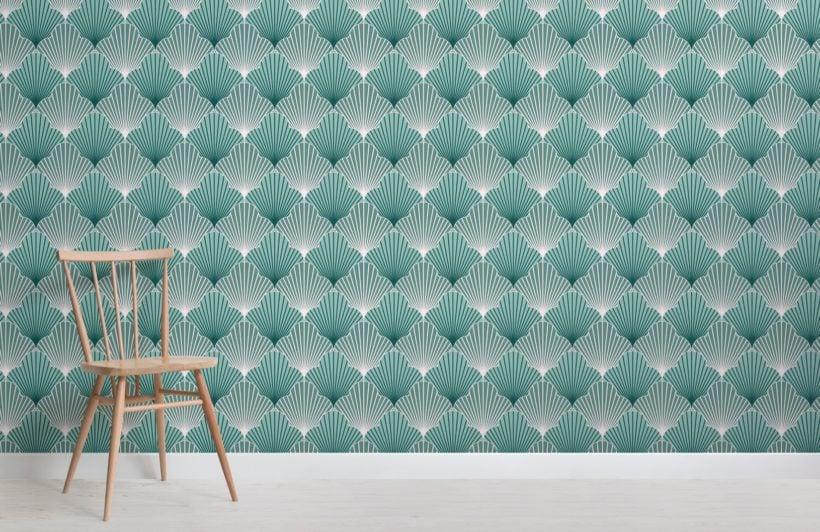 green art deco scallop pattern wallpaper mural