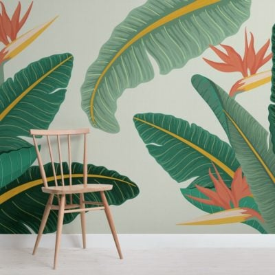 green-banana-leaf-bird-of-paradise-tropical-wallpaper-mural