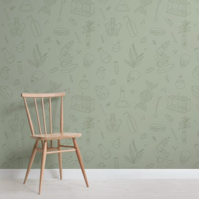 green biology & chemistry stem pattern wallpaper mural