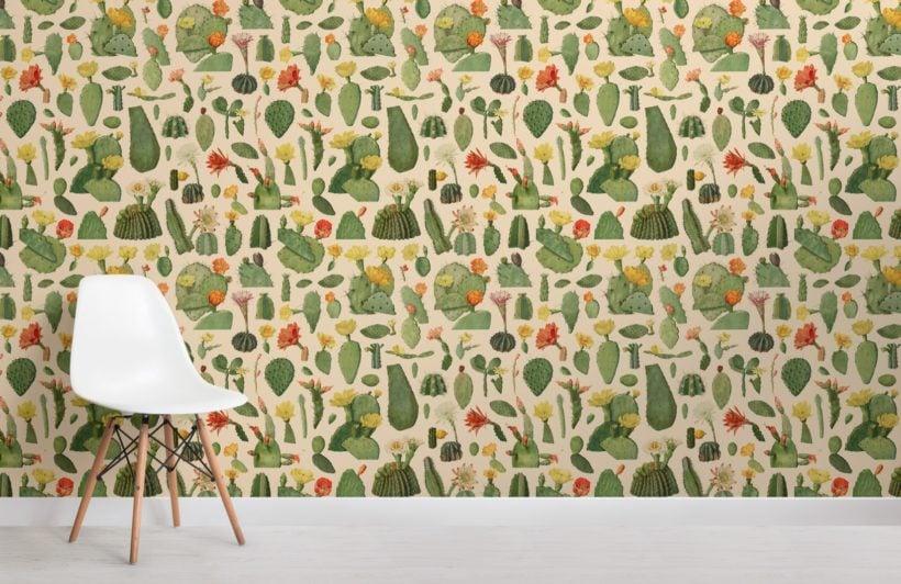 green cactus succulent pattern wallpaper mural