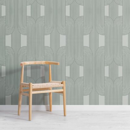 Green Calming Lines and Curves Repeat Pattern Wallpaper Image