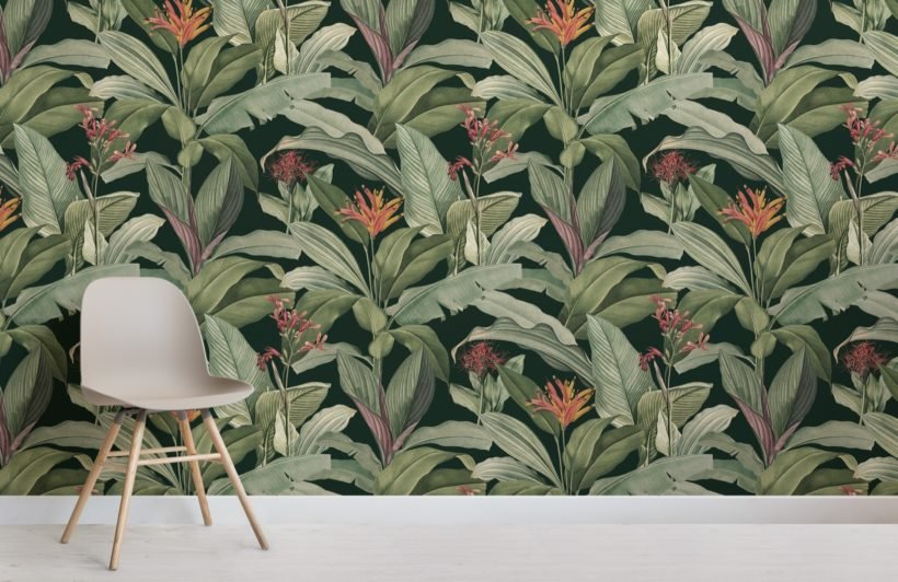 green chic vintage tropical pattern wallpaper mural