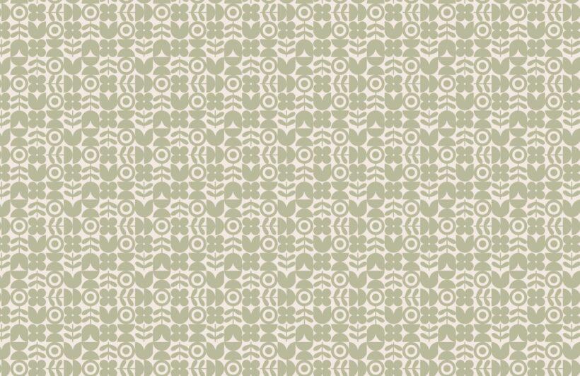 green geometric retro flower repeat pattern wallpaper
