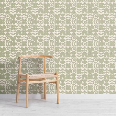 green geometric retro flower repeat pattern wallpaper