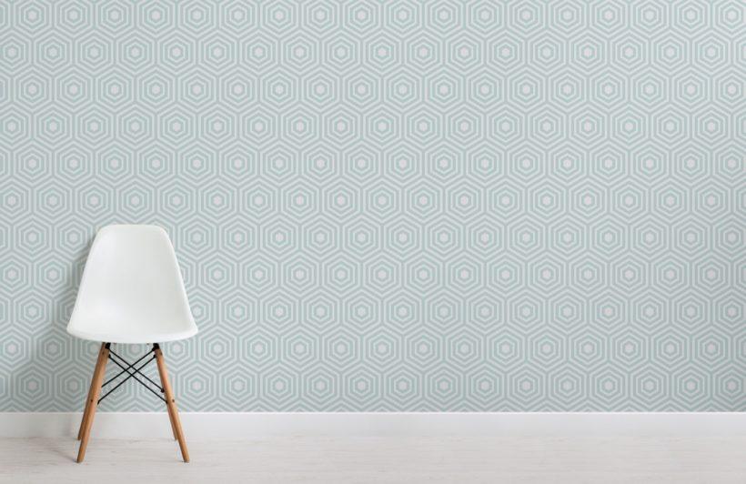 green hexagon geometric pattern wallpaper mural