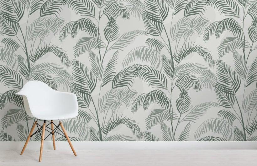 green inky tropical pattern wallpaper mural