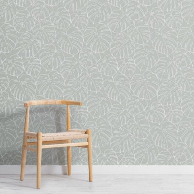 green-monstera-leaf-line-drawing-repeat-pattern-wallpaper