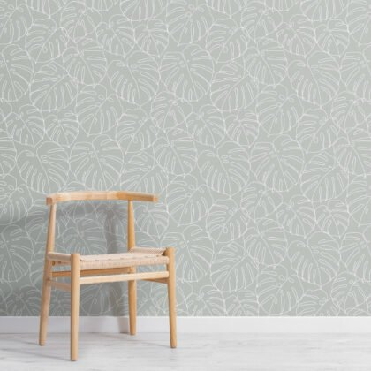 Green Monstera Leaf Line Drawing Repeat Pattern Wallpaper Image