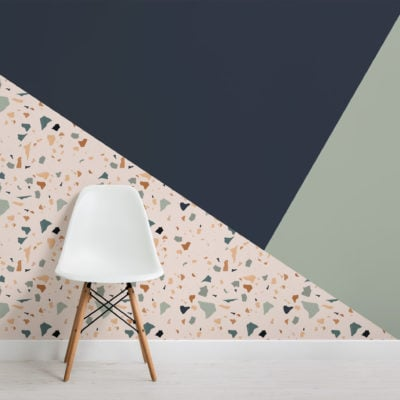 green navy orange terrazzo geometric prism wallpaper mural-Square