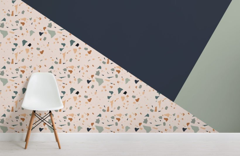 green, navy & orange terrazzo prism wallpaper mural