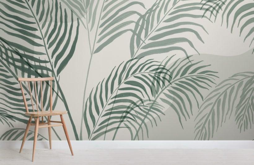 green palm leaf inky tropical wallpaper mural