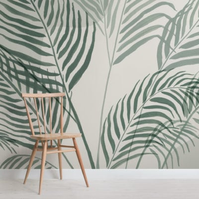 green palm leaf inky tropical wallpaper mural