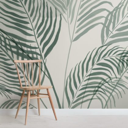 Green Palm Leaf Inky Tropical Wallpaper Mural Image