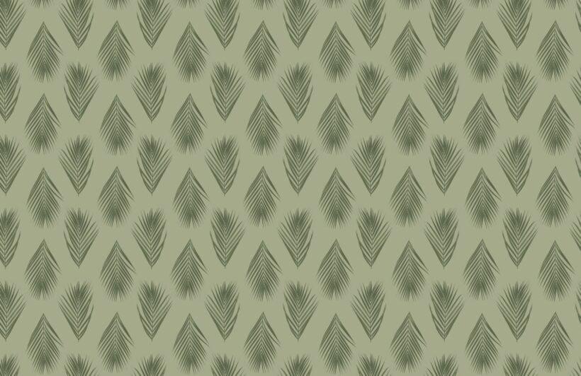 green palm leaf repeat pattern wallpaper