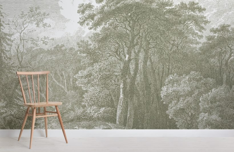 green tree forest etching wallpaper mural