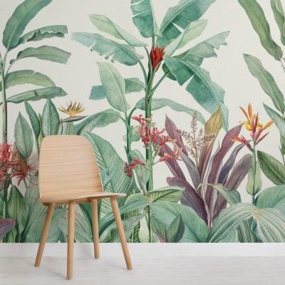 green vintage tropical minimalist wallpaper mural