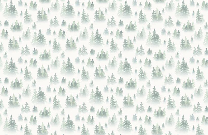 green watercolour birch tree forest wallpaper mural