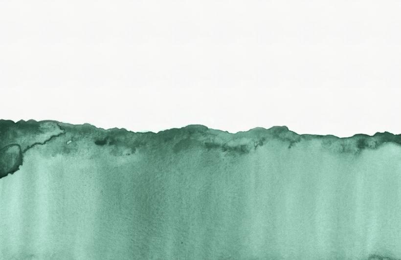 green wave watercolour wallpaper mural-Plain