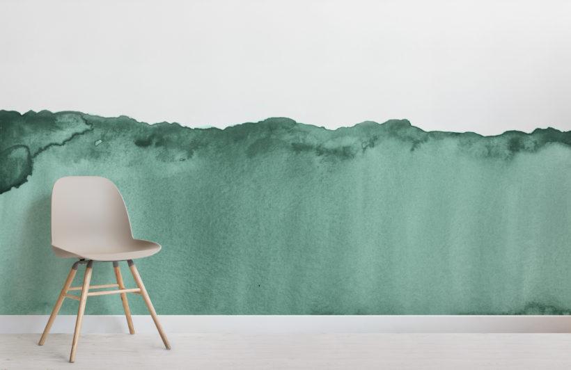 green wave watercolour wallpaper mural-Room