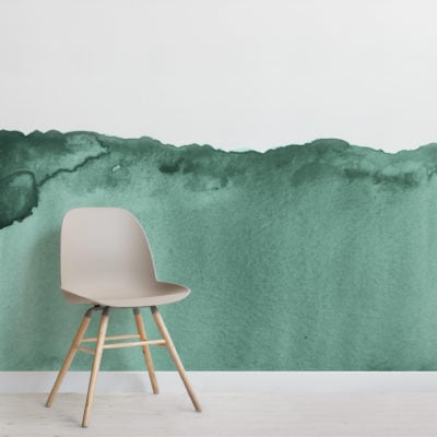 green wave watercolour wallpaper mural-Square