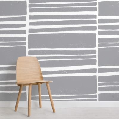 grey and white horizontal textured stripes wallpaper mural