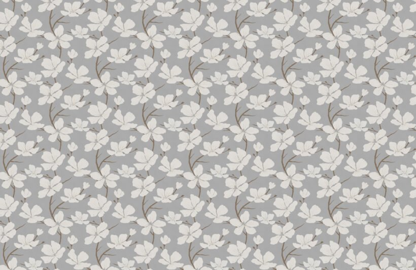 grey and white illustrated blossom repeat pattern wallpaper