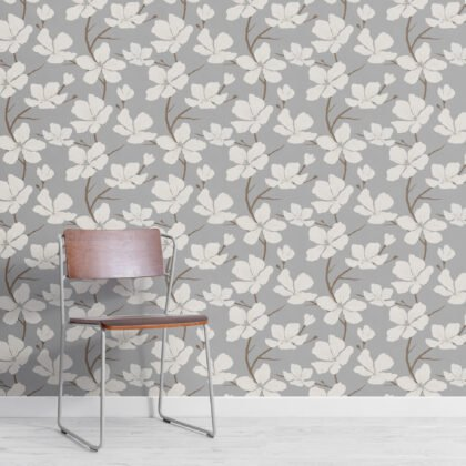Gray and White Illustrated Blossom Repeat Pattern Wallpaper Image