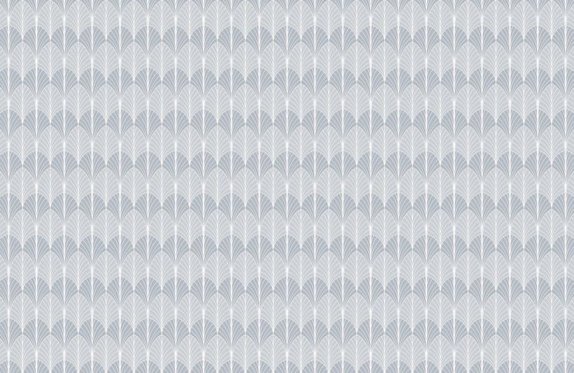 gray art deco scallop pattern wallpaper mural