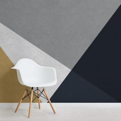 Grey, Blue & Gold Concrete Effect Geometric Wallpaper Mural Image
