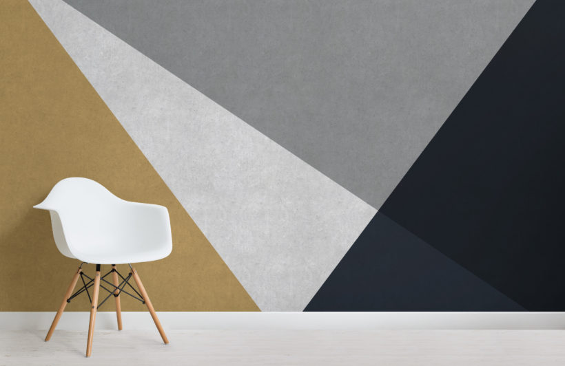 grey, blue gold concrete effect geometric wallpaper mural