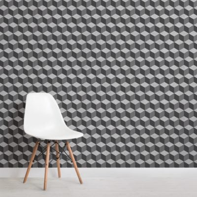 grey concrete texture 3D cube wallpaper mural
